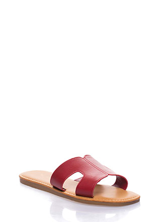 On And Off Cut-Out Slide Sandals