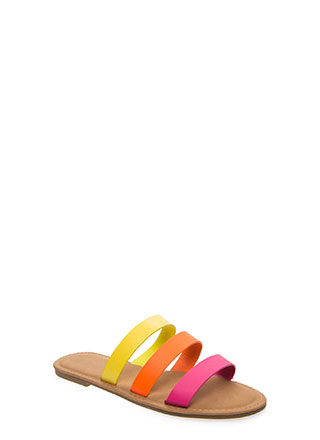 Three And Easy Strappy Slide Sandals