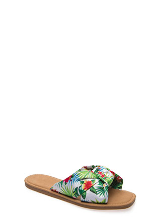 Knot Ready Tropical Fabric Slide Sandals