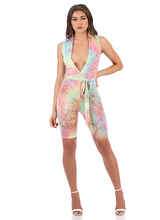 Candy Pop Plunging Tie-Dye Romper
