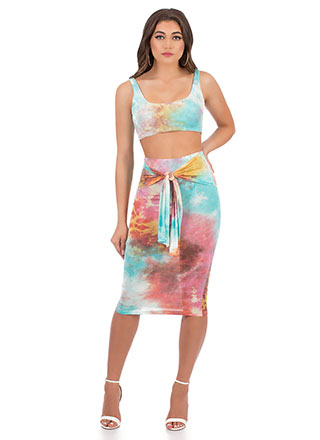 Tie-Dye Skies Tied 2-Piece Dress