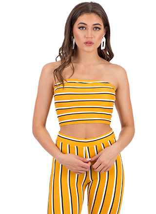Between The Lines Pinstriped Tube Top