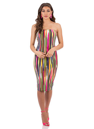 What A Streak Striped Tube Dress