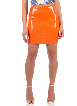 Go Glossy Faux Patent Leather Skirt