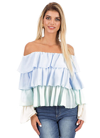 Frilly Fiesta Tiered Off-Shoulder Top