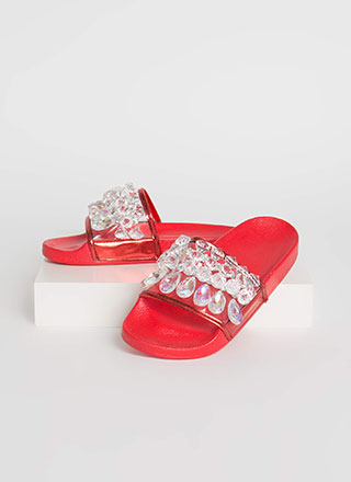 Clear As Crystal Jeweled Slide Sandals