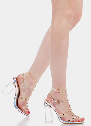 Let's Clear Out Studded Lucite Heels