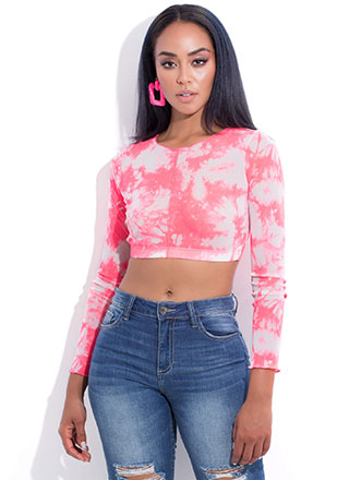 Try It In Tie-Dye Mesh Crop Top