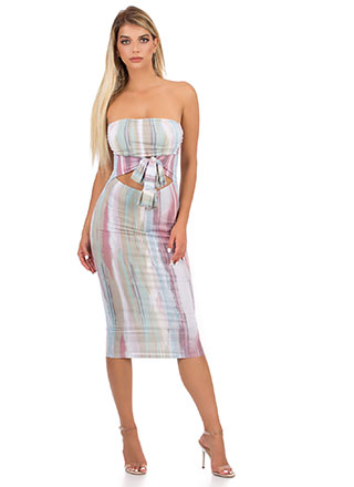 To Dye For Tied Cut-Out Tube Dress