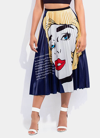 Pop Art Class Graphic Pleated Skirt