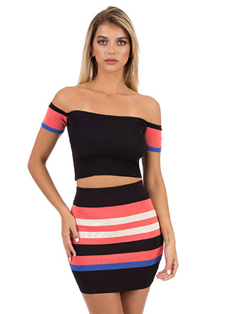 Stripe Out Off-Shoulder 2-Piece Dress