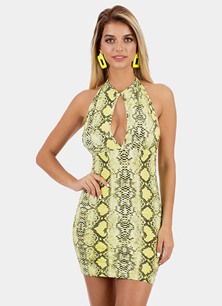 Sly Snake Cut-Out Halter Minidress