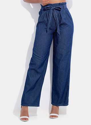 Denim Girl Wide-Leg Chambray Pants