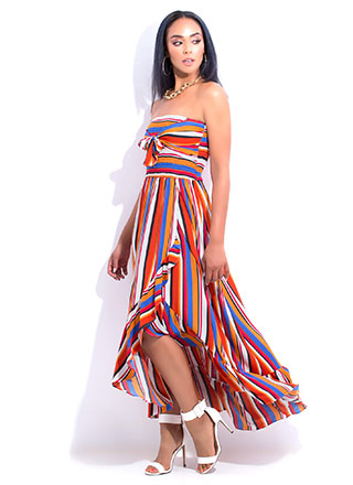 Paradise Strapless Striped Maxi Dress