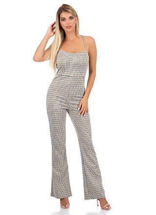 Open Mind Lace-Up Houndstooth Jumpsuit
