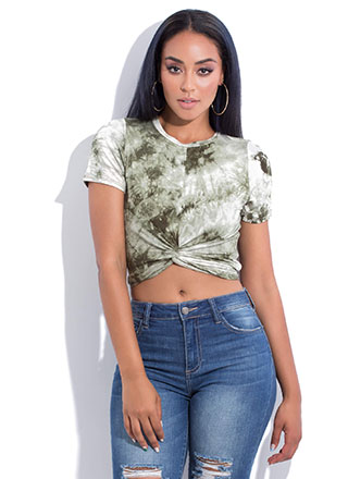 Tie-Dye Tee With A Twist Crop Top