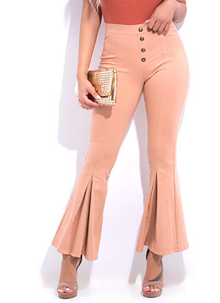 Flare Game Pleated Bell-Bottom Pants