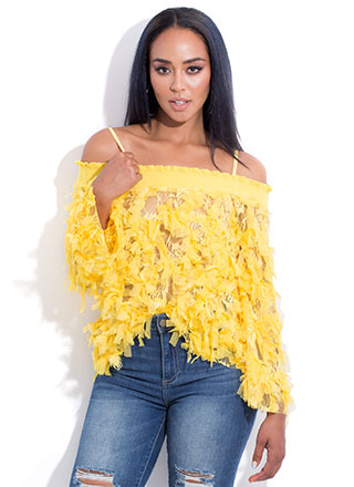 Pretty Bird Mesh Fringe Off-Shoulder Top