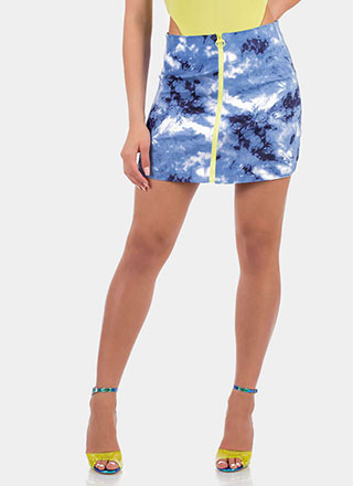 Sky's The Limit Zip-Up Tie-Dye Miniskirt
