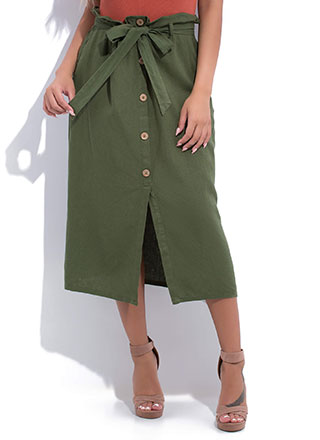 Chic Look Belted Paper-Bag Waist Skirt