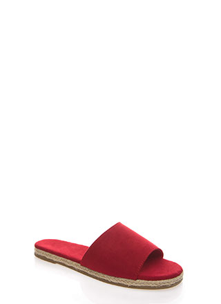 Layover Braided Faux Suede Slide Sandals