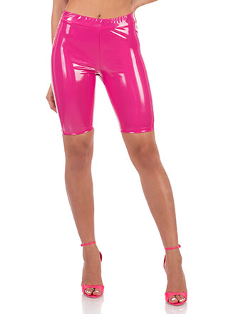 Shine Faux Patent Leather Biker Shorts
