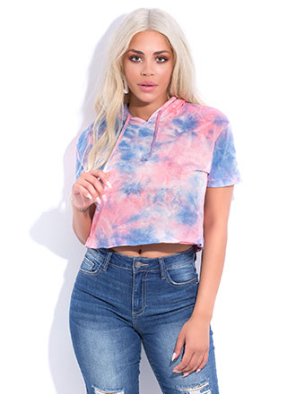 1a1df3dc0d16a Tie-Dye For Days Cropped Hoodie Top