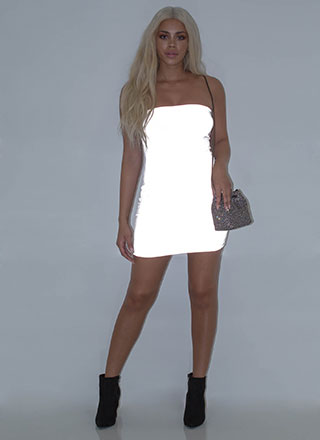 Flash Mob Reflective Tube Minidress