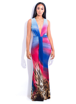 Leopard Sunset Plunging Draped Gown