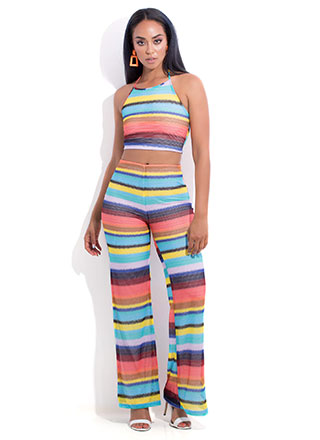 Serious Stripes Halter Top And Pant Set