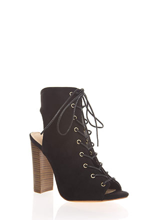 Warm Up Chunky Backless Lace-Up Booties
