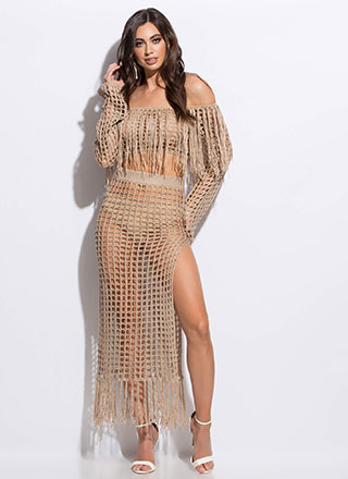 Great Catch Netted Off-Shoulder Set