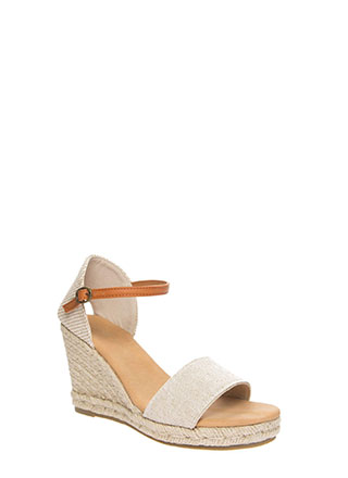 Time Off Strappy Braided Linen Wedges