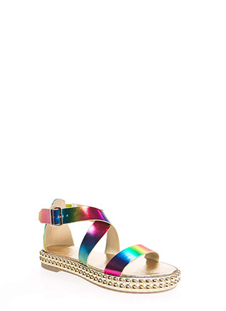 Bead Me To The Punch Rainbow Sandals