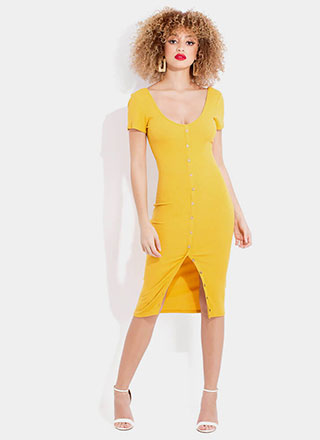 More Buttons Please Rib Knit Midi Dress
