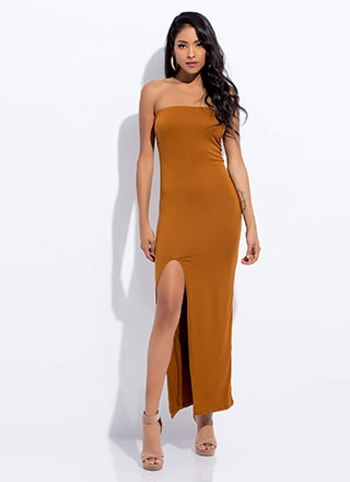 Take Me There Strapless Slit Maxi Dress