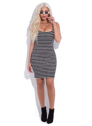 Not An Illusion Striped Bodycon Dress