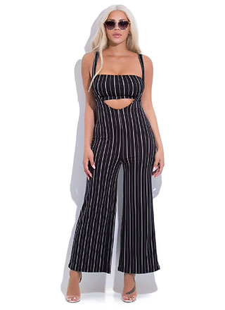 Pinstriped Perfection 2-Piece Jumpsuit