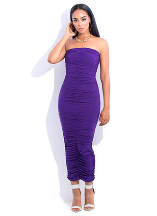 Ruche Hour Strapless Shirred Maxi Dress