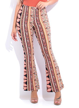Decorative Trim Printed Flare-Leg Pants