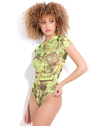 Front Page Newspaper Print Mesh Bodysuit
