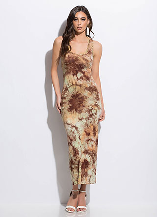Tie-Dye Creation Strappy Back Maxi Dress