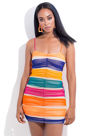 Candy Coated Ruched Mesh Minidress