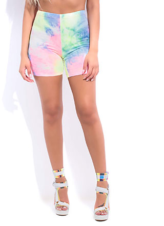 Cotton Candy Tie-Dyed Biker Shorts