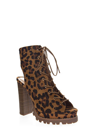 Lug Love Chunky Cut-Out Peep-Toe Booties
