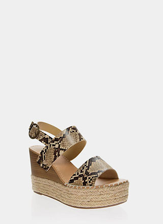 Snake Tale Braided Platform Wedges