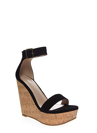 So Chic Ankle Strap Platform Wedges