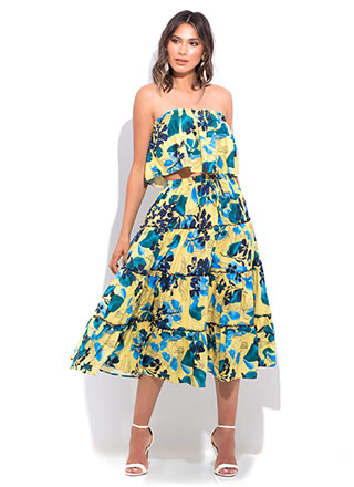 Floral Flare Tiered 2-Piece Dress