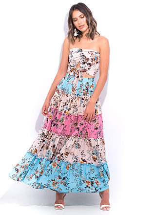 Fresh Flowers Tiered 2-Piece Maxi Dress