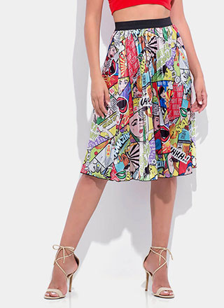 Comic Relief Pleated Midi Skirt